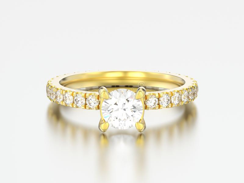 3D illustration gold engagement wedding diamond ring. On a grey background vector illustration