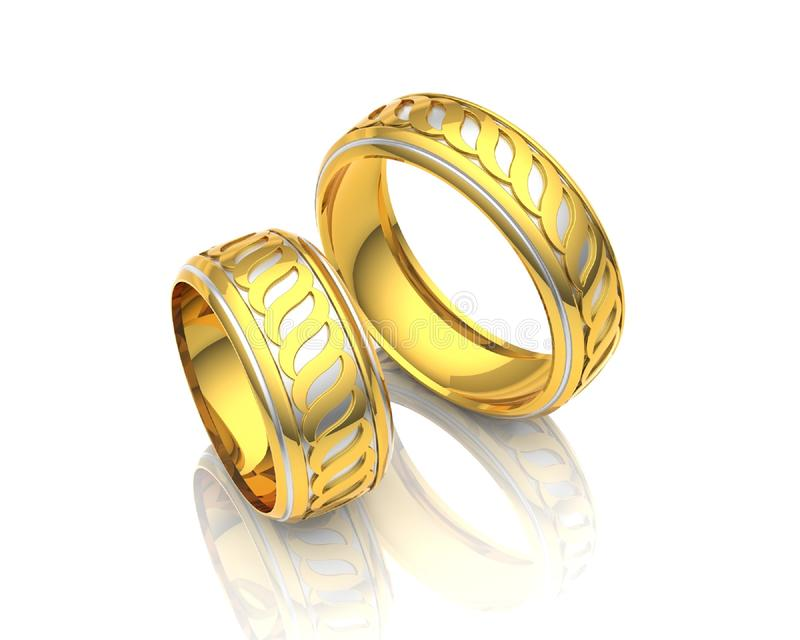 3d illustration gold rings. On white background royalty free illustration