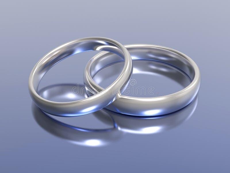 3D illustration gold silver wedding rings vector illustration