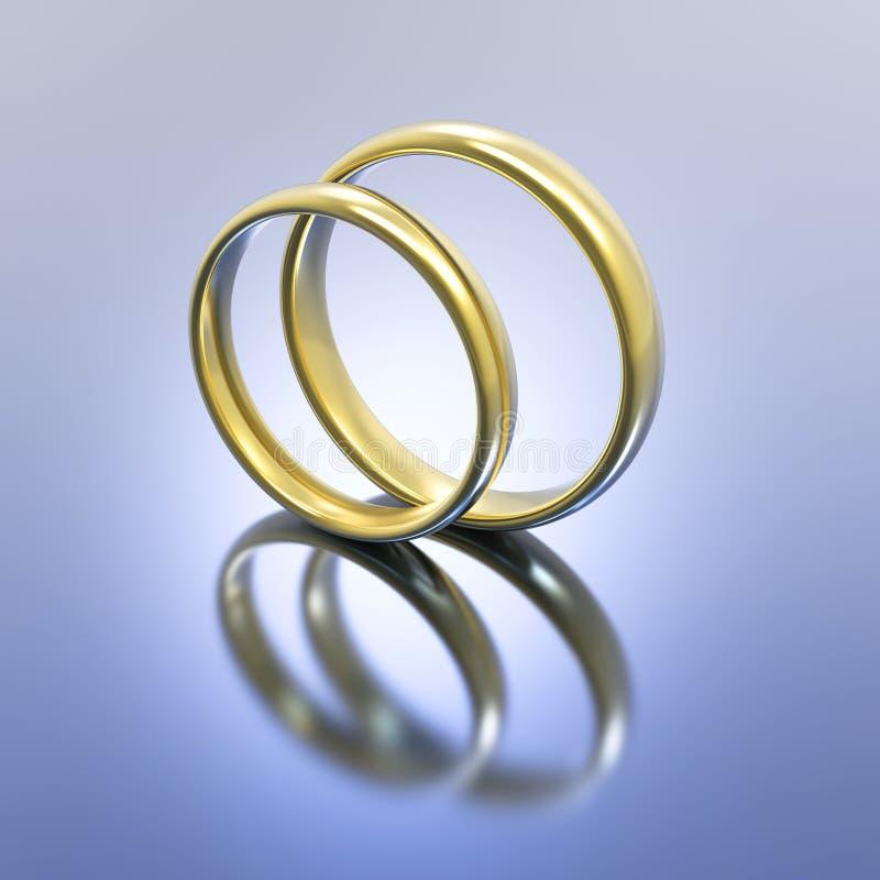 3D illustration gold silver wedding rings royalty free illustration