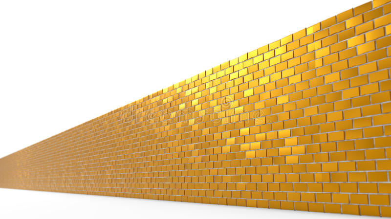 3d illustration of golden brick wall. Isolated on white royalty free illustration
