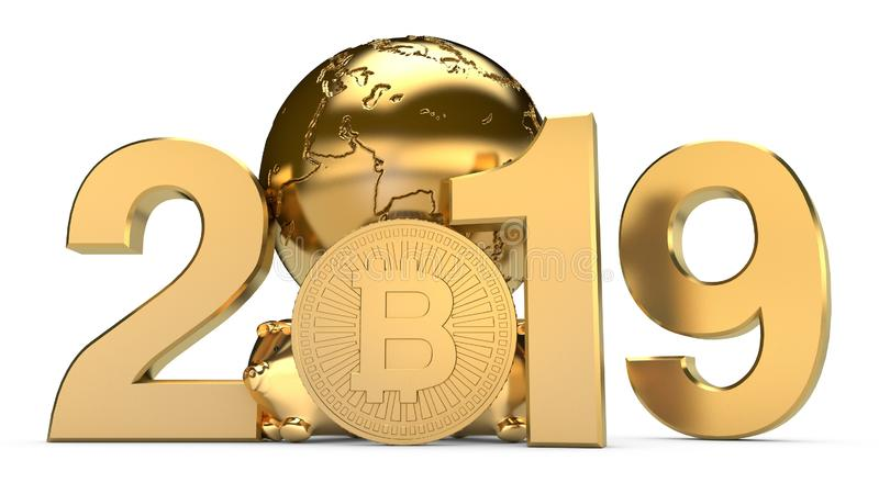 3D illustration of 2019 and the Golden planet Earth with bitcoin cryptocurrency coins. The idea for the calendar, a symbol of the. Development of the stock illustration
