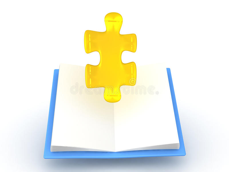 3D illustration of golden puzzle piece rising out of opened book stock illustration
