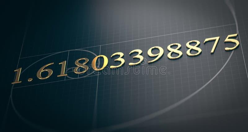 Golden Ratio, Fibonacci Sequence, Divine Proportion. 3D illustration of golden ratio. Fibonacci sequence concept over black background stock illustration