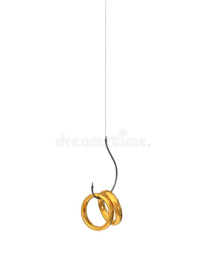 3d illustration of golden rings on the fishing hook. royalty free illustration