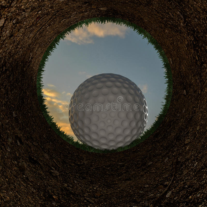 3D illustration of a golf ball going into a hole. stock illustration