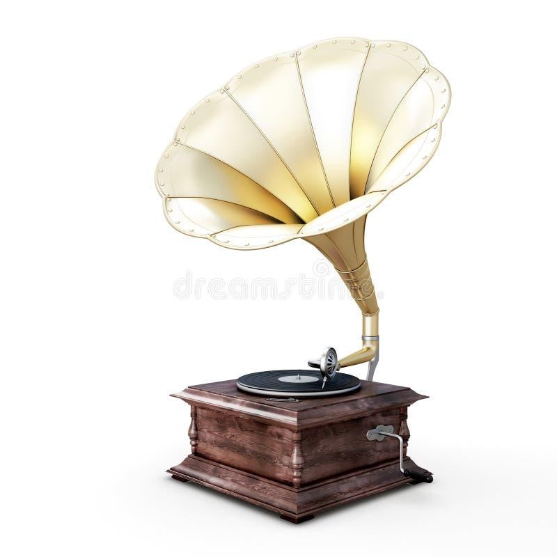 3D illustration of gramophone. Isolated on white background stock illustration