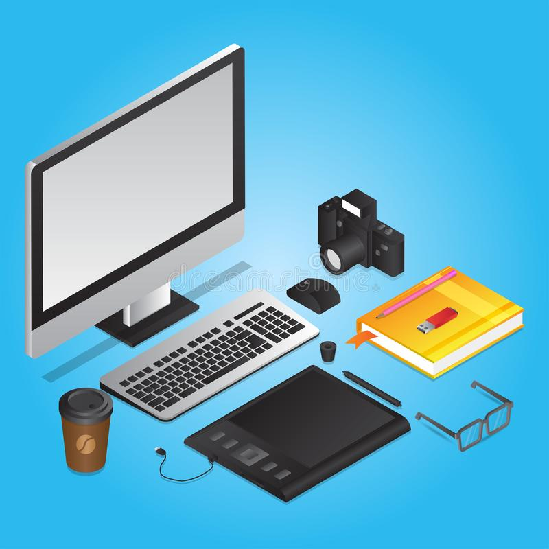 3D illustration of graphic designer tools like as computer with graphic tablet, book, camera, coffee cup and eye glasses on blue stock illustration