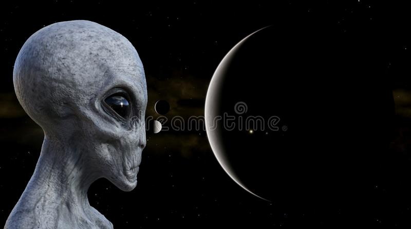 Illustration of a gray alien in the foreground with planets and moons in the background royalty free illustration