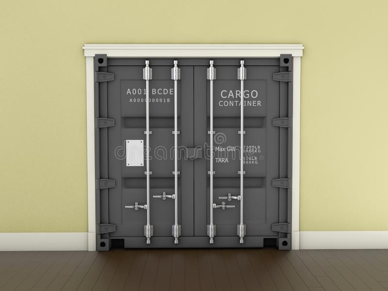 3d Illustration of Gray Shipping Container Door royalty free stock image
