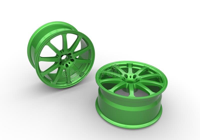 3d illustration of green car rims vector illustration