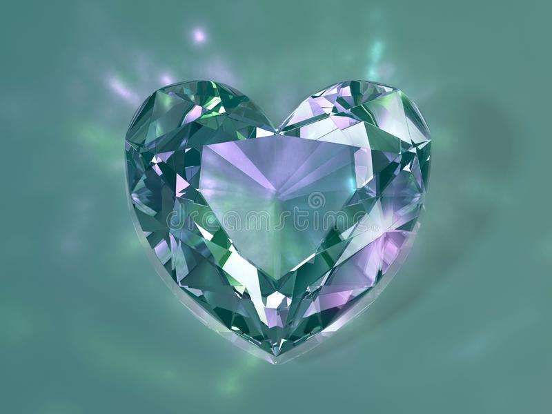 3d illustration. Green crystal heart on a light background.  royalty free stock photo