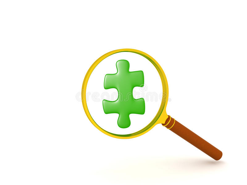 3D illustration of green jigsaw puzzle piece held in front of ma royalty free illustration