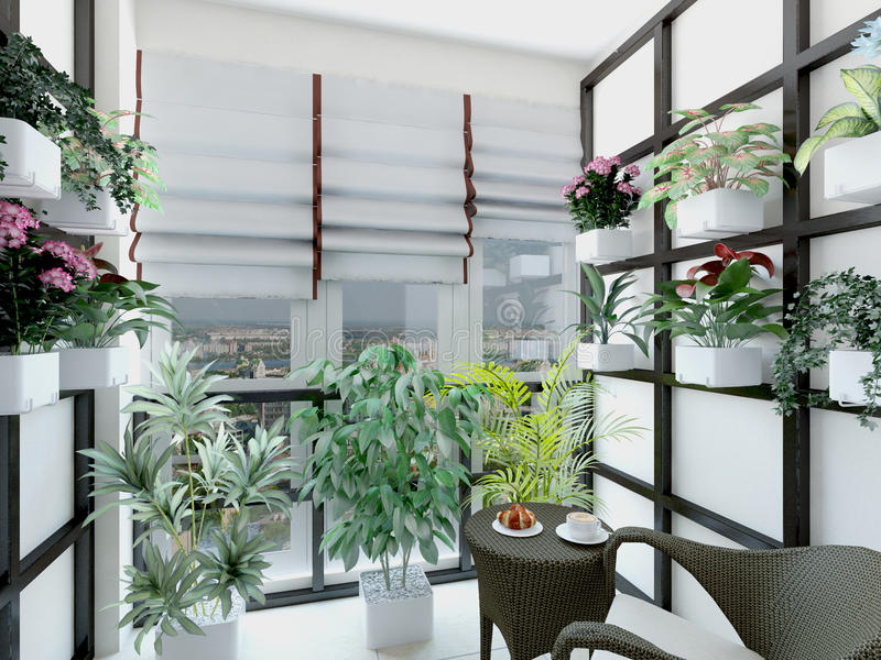 3d illustration of greenhouses in home. 3d rendering of greenhouses in home royalty free illustration