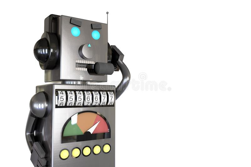 3d illustration: grey metal robot in headphones with headset calls customers with annoying ads, dials the phone number randomly, s. Pambot, robocalls concept stock photo