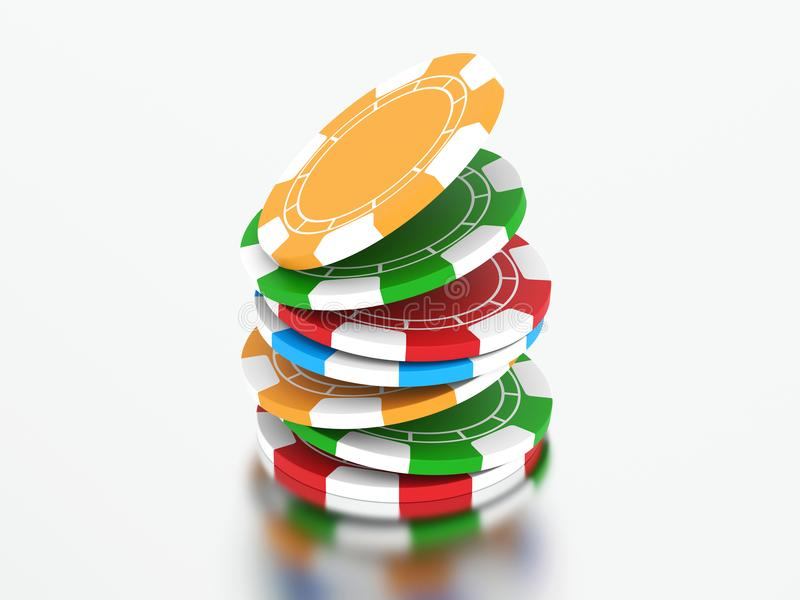3D illustration group of different colors casino chips. On a gray background vector illustration