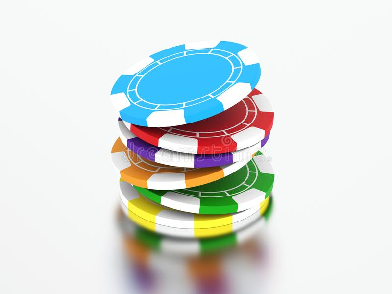 3D illustration group of different colour casino chips. 3D illustration group of different colors casino chips on a gray background vector illustration