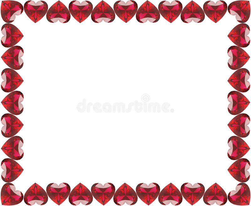 3D Illustration Group Of Red Diamonds Hearts Frame Stock ...