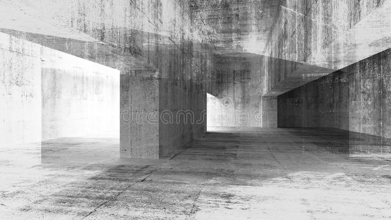 3d illustration with grunge concrete interior royalty free illustration