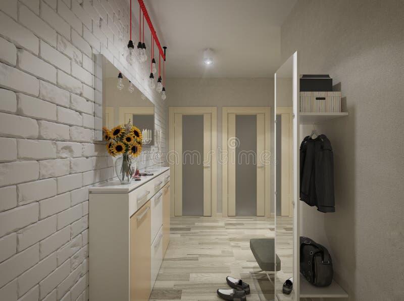 3D illustration of a hall in beige tones. 3D render of a hall from in beige tones stock illustration