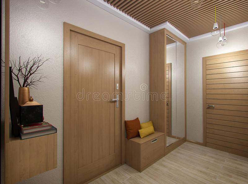 3D illustration of a hall from tree material. 3D render of a hall from tree material vector illustration