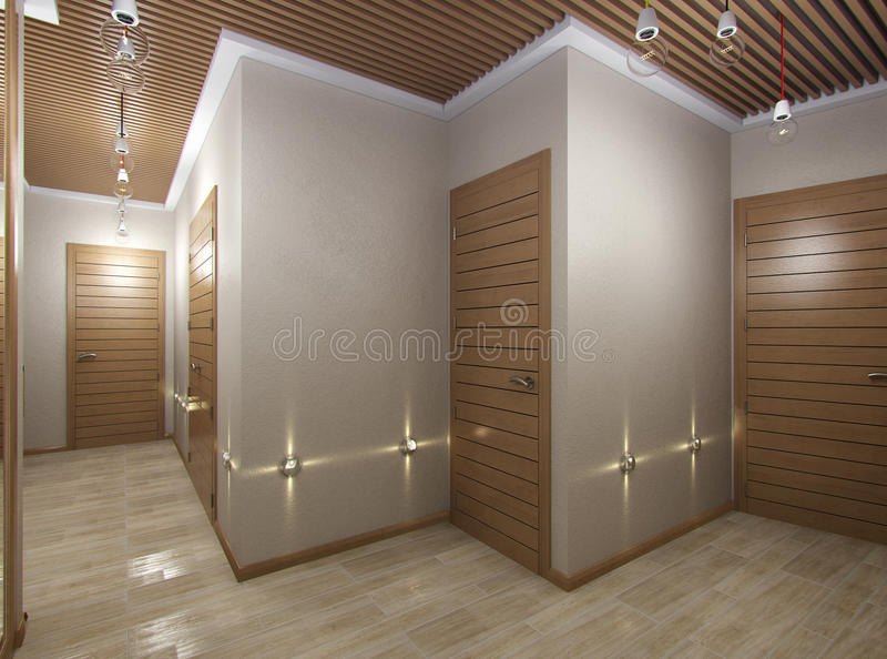 3D illustration of a hall from tree material. 3D render of a hall from tree material stock illustration