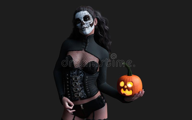 Halloween pumpkin or Jack-o`-lantern and scary ghost woman. 3d Illustration Halloween pumpkin or Jack-o`-lantern and scary ghost woman with clipping path stock photography