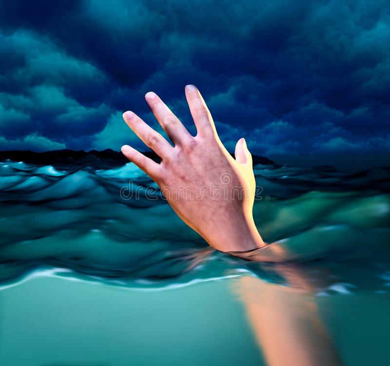 Drowning victims, Hand of drowning man needing help. 3d illustration royalty free illustration
