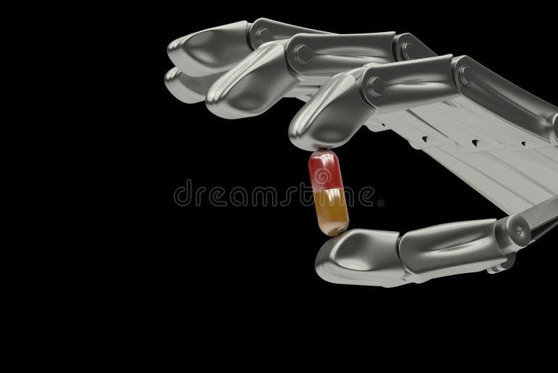 3d Illustration, Handroboter, der Pille hält vektor abbildung