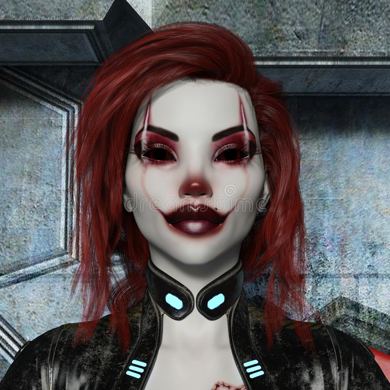 3d illustration of the head and shoulders of a woman in made up as an evil clown with red hair in a bodysuit vector illustration