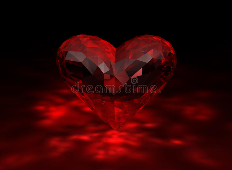 3D illustration of heart shaped ruby stock illustration