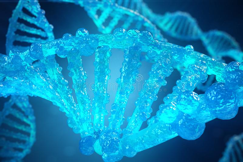 3D Illustration Helix DNA molecule with modified genes. Correcting mutation by genetic engineering. Concept Molecular stock illustration