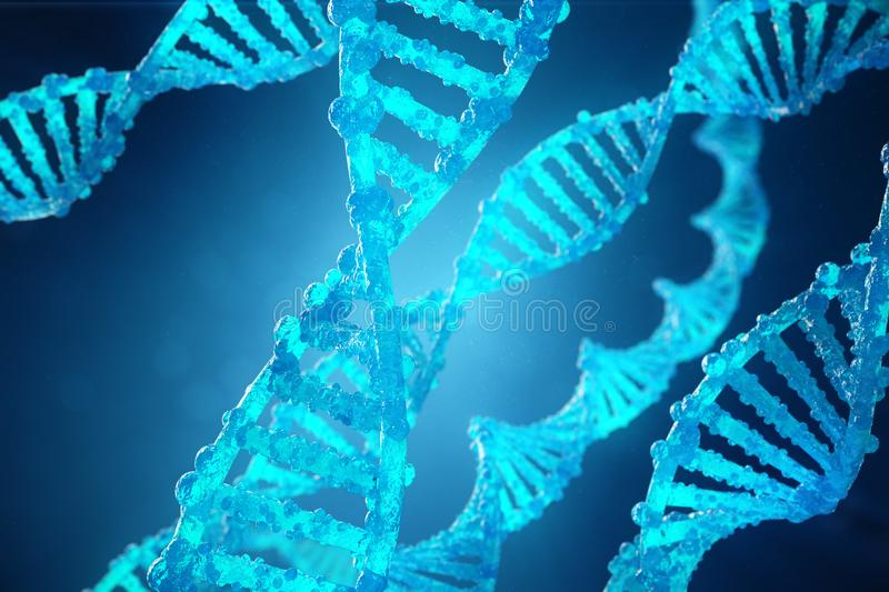 3D Illustration Helix DNA molecule with modified genes. Correcting mutation by genetic engineering. Concept Molecular. Genetics royalty free illustration