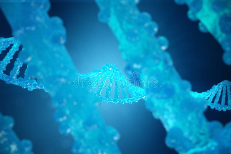 3D Illustration Helix DNA molecule with modified genes. Correcting mutation by genetic engineering. Concept Molecular vector illustration