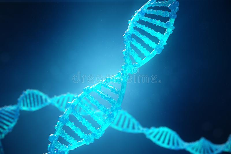 3D Illustration Helix DNA molecule with modified genes. Correcting mutation by genetic engineering. Concept Molecular royalty free illustration