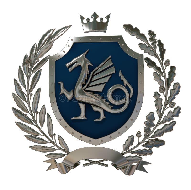 3D illustration Heraldry, blue coat of arms. Метал olive branch, oak branch, crown, shield, dragon. Isolat. vector illustration