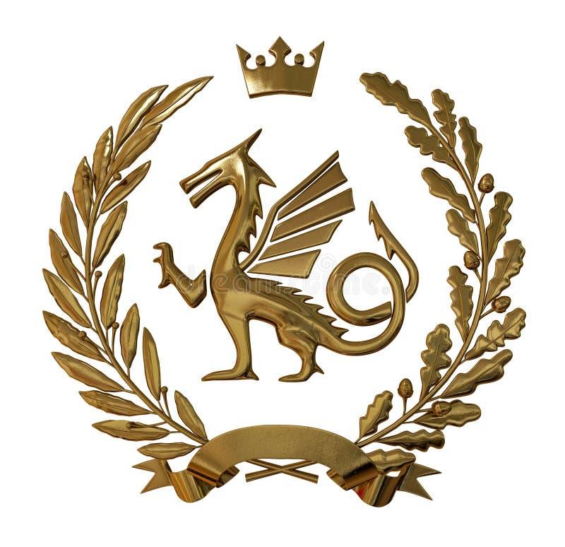 3D illustration Heraldry, red coat of arms. Golden olive branch, oak branch, crown, shield, dragon. Isolat. stock illustration