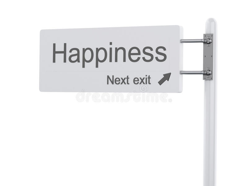 3D Illustration. Highway Sign, the next exit happiness. Isolated royalty free illustration