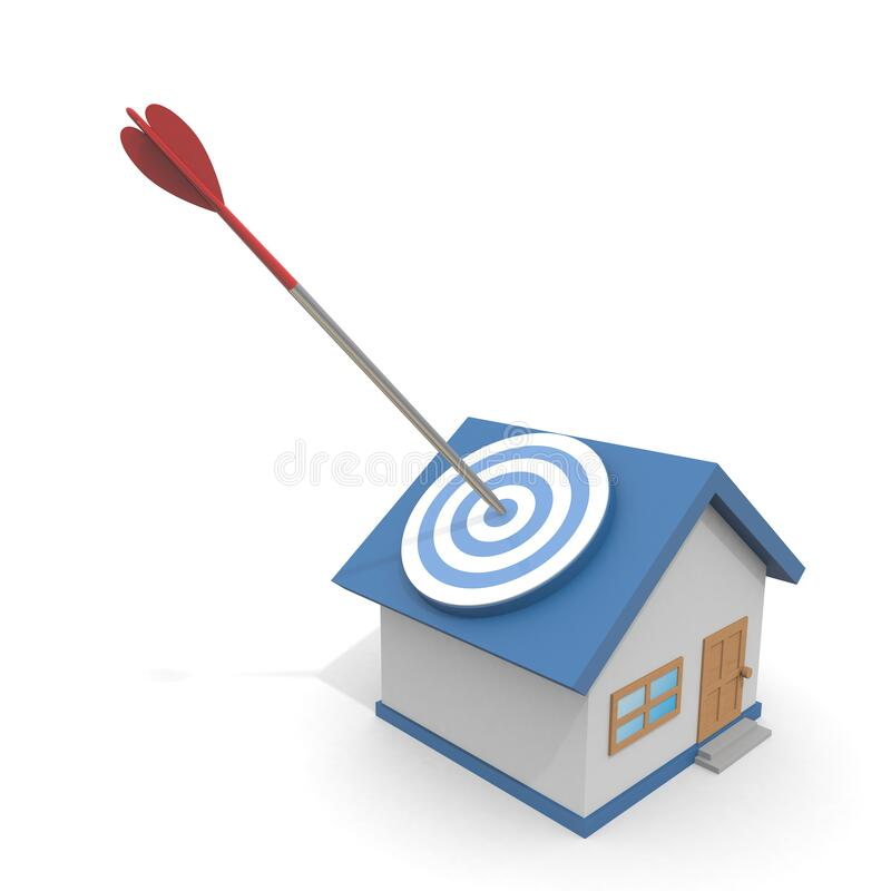 3D illustration. Hit the target house with an arrow. Find a property. royalty free illustration