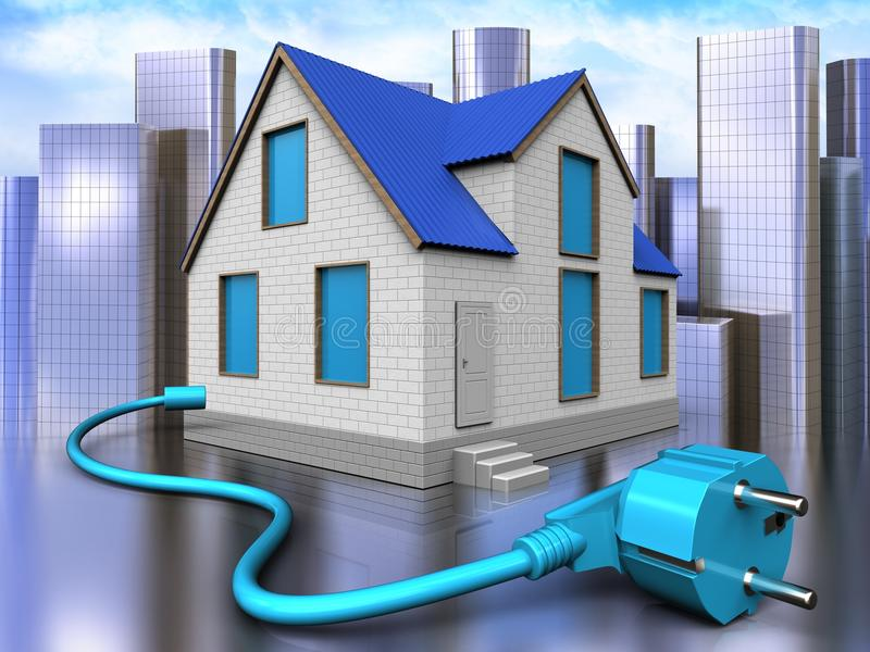 3d cable over city. 3d illustration of home with cable over city background vector illustration
