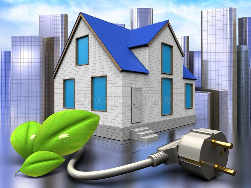 3d eco power cable over city. 3d illustration of home with eco power cable over city background royalty free illustration