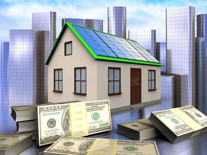 3d banknotes over city. 3d illustration of home with solar panel with banknotes over city background vector illustration