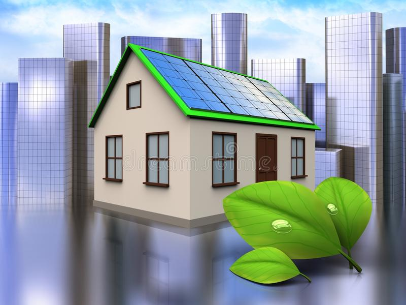 3d leafs over city. 3d illustration of home with solar panel with leafs over city background royalty free illustration