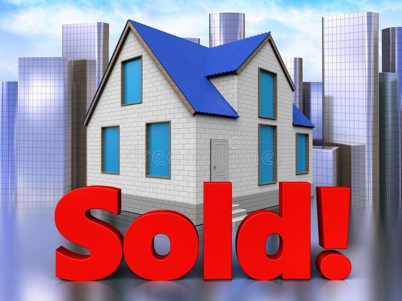 3d sold sign over city. 3d illustration of home with sold sign over city background vector illustration