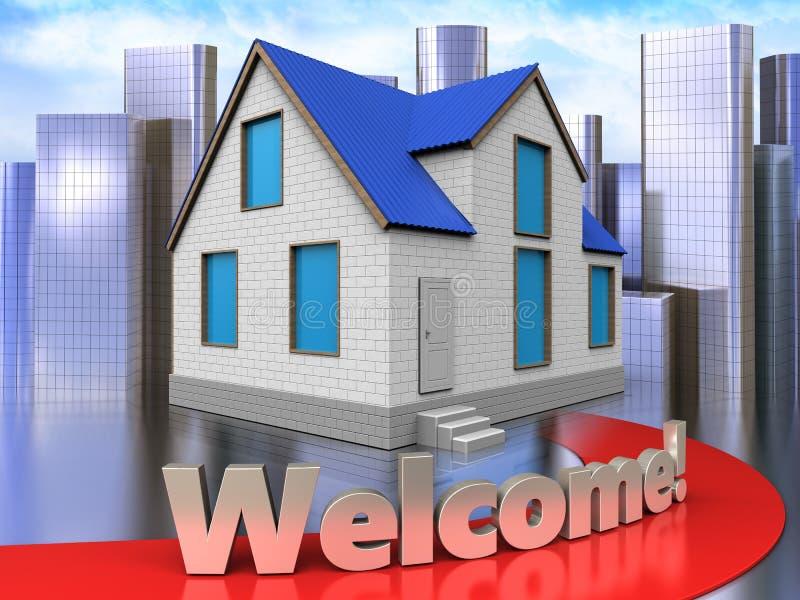 3d welcome sign over city. 3d illustration of home with welcome sign over city background royalty free illustration