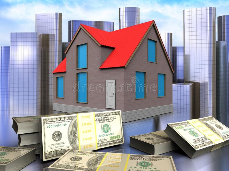 3d banknotes over city. 3d illustration of house with banknotes over city background vector illustration