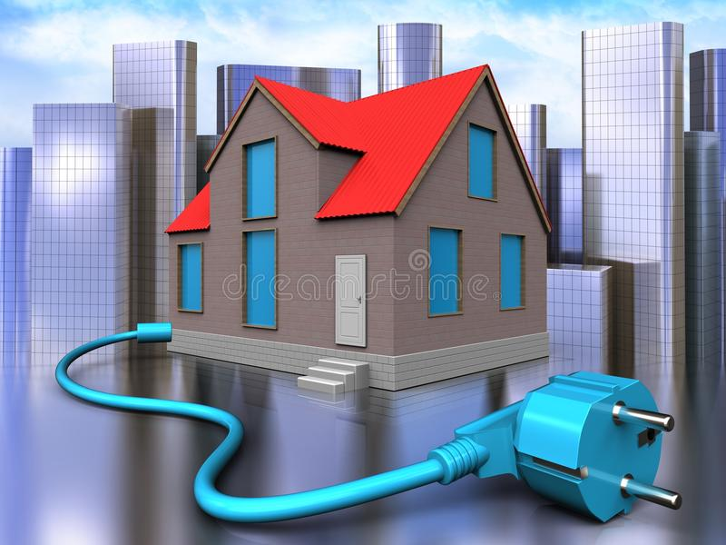 3d cable over city. 3d illustration of house with cable over city background stock illustration