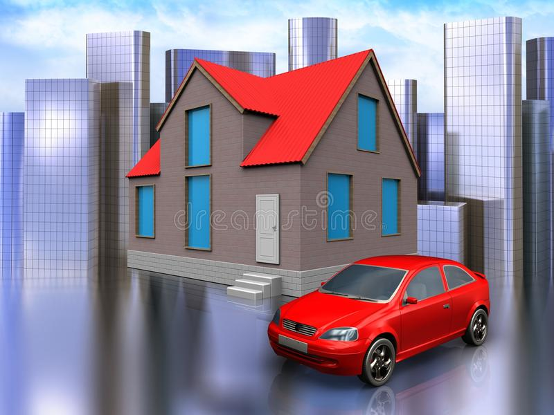 3d car over city. 3d illustration of house with car over city background stock illustration