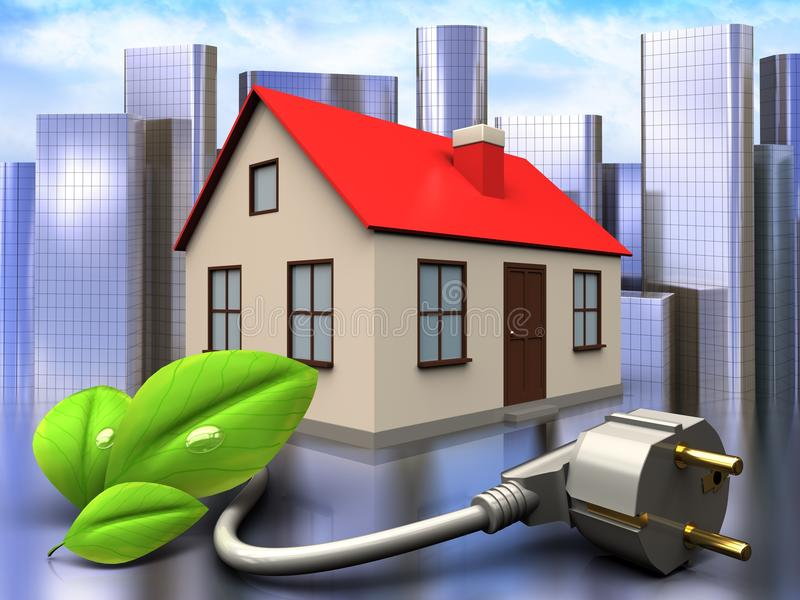 3d eco power cable over city. 3d illustration of house with eco power cable over city background royalty free illustration