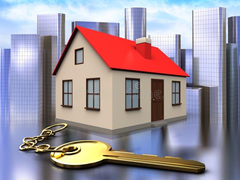 3d golden key over city. 3d illustration of house with golden key over city background royalty free illustration
